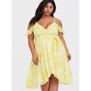 Torrid Yellow Leaf Cold Shoulder Wrap Dress